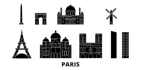 France, Paris City flat travel skyline set. France, Paris City black city vector panorama, illustration, travel sights, landmarks, streets. Archivio Fotografico - 123844428