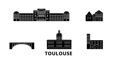 France, Toulouse flat travel skyline set. France, Toulouse black city vector panorama, illustration, travel sights, landmarks, streets.