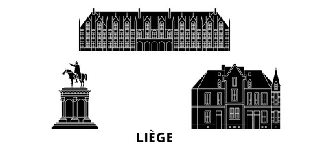 Belgium, Liege flat travel skyline set. Belgium, Liege black city vector panorama, illustration, travel sights, landmarks, streets. Banque d'images - 120658158