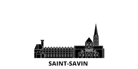 France, Saint Savin flat travel skyline set. France, Saint Savin black city vector panorama, illustration, travel sights, landmarks, streets. Stock Illustratie