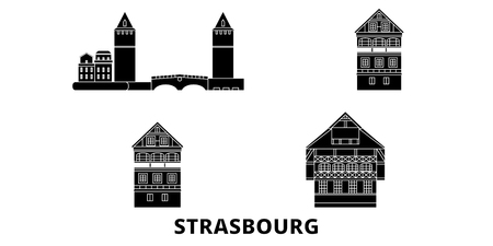 France, Strasbourg City flat travel skyline set. France, Strasbourg City black city vector panorama, illustration, travel sights, landmarks, streets. Illustration