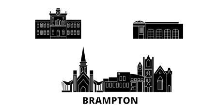 Canada, Brampton flat travel skyline set. Canada, Brampton black city vector panorama, illustration, travel sights, landmarks, streets.
