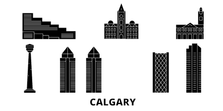 Canada, Calgary flat travel skyline set. Canada, Calgary black city vector panorama, illustration, travel sights, landmarks, streets.  イラスト・ベクター素材