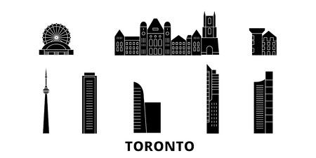 Canada, Toronto flat travel skyline set. Canada, Toronto black city vector panorama, illustration, travel sights, landmarks, streets.
