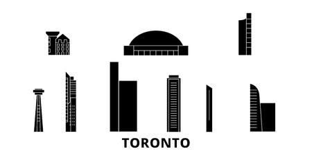 Canada, Toronto City flat travel skyline set. Canada, Toronto City black city vector panorama, illustration, travel sights, landmarks, streets.