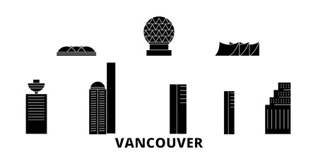Canada, Vancouver City flat travel skyline set. Canada, Vancouver City black city vector panorama, illustration, travel sights, landmarks, streets. Imagens - 120658164