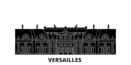 France, Versailles  flat travel skyline set. France, Versailles  black city vector panorama, illustration, travel sights, landmarks, streets. Illustration