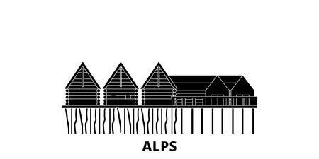 Germany, Alps, Prehistoric Pile Dwellings flat travel skyline set. Germany, Alps, Prehistoric Pile Dwellings black city vector panorama, illustration, travel sights, landmarks, streets.