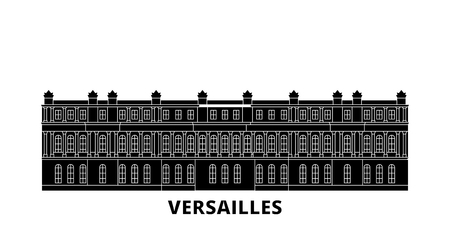 France, Versailles Landmark flat travel skyline set. France, Versailles Landmark black city vector panorama, illustration, travel sights, landmarks, streets. Çizim