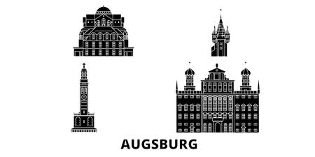 Germany, Augsburg flat travel skyline set. Germany, Augsburg black city vector panorama, illustration, travel sights, landmarks, streets.