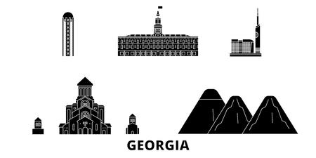 Georgia flat travel skyline set. Georgia black city vector panorama, illustration, travel sights, landmarks, streets. Illustration
