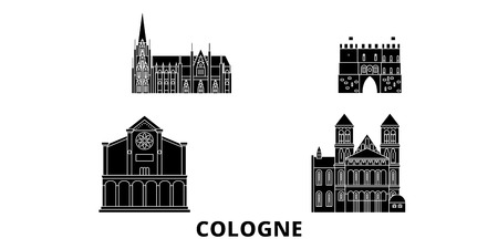 Germany, Cologne flat travel skyline set. Germany, Cologne black city vector panorama, illustration, travel sights, landmarks, streets.