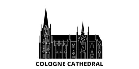 Germania, Cattedrale di Colonia piatto skyline di viaggio impostato. Germania, Cattedrale di Colonia città nera panorama vettoriale, illustrazione, siti di viaggi, punti di riferimento, strade.