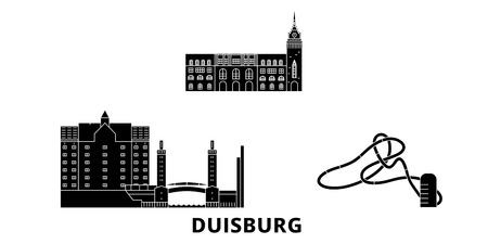 Germany, Duisburg flat travel skyline set. Germany, Duisburg black city vector panorama, illustration, travel sights, landmarks, streets.