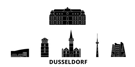 Germany, Dusseldorf flat travel skyline set. Germany, Dusseldorf black city vector panorama, illustration, travel sights, landmarks, streets. Illustration