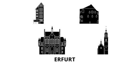Germany, Erfurt flat travel skyline set. Germany, Erfurt black city vector panorama, illustration, travel sights, landmarks, streets.