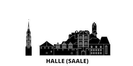 Germany, Halle (Saale) flat travel skyline set. Germany, Halle (Saale) black city vector panorama, illustration, travel sights, landmarks, streets.
