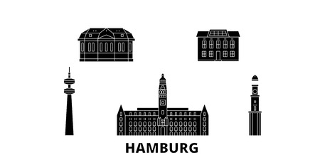 Germany, Hamburg flat travel skyline set. Germany, Hamburg black city vector panorama, illustration, travel sights, landmarks, streets.
