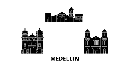 Colombia, Medellin flat travel skyline set. Colombia, Medellin black city vector panorama, illustration, travel sights, landmarks, streets. Иллюстрация