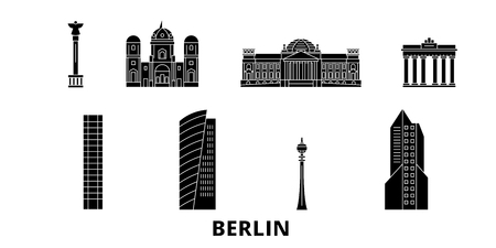 Germany, Berlin flat travel skyline set. Germany, Berlin black city vector panorama, illustration, travel sights, landmarks, streets. Illustration