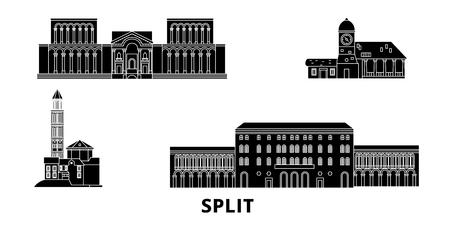 Croazia, set di skyline di viaggio piatto Split. Croazia, Split nero città panorama vettoriale, illustrazione, siti di viaggi, punti di riferimento, strade. Vettoriali