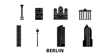 Alemania, Berlín ciudad plana horizonte de viaje. Alemania, Berlín City panorama vectorial de la ciudad negra, ilustración, lugares turísticos, monumentos, calles. Ilustración de vector