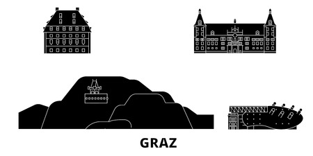 Austria, Graz flat travel skyline set. Austria, Graz black city vector panorama, illustration, travel sights, landmarks, streets.