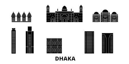 Bangladesh, Dhaka flat travel skyline set. Bangladesh, Dhaka black city vector panorama, illustration, travel sights, landmarks, streets.
