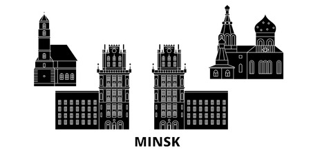 Belarus, Minsk flat travel skyline set. Belarus, Minsk black city vector panorama, illustration, travel sights, landmarks, streets.  イラスト・ベクター素材