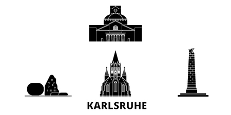 Germany, Karlsruhe flat travel skyline set. Germany, Karlsruhe black city vector panorama, illustration, travel sights, landmarks, streets.