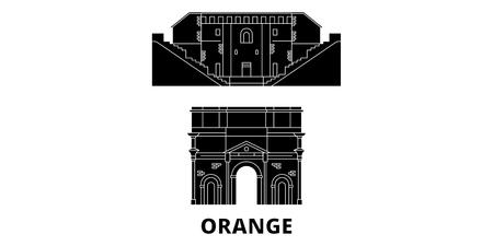 France, Orange  flat travel skyline set. France, Orange  black city vector panorama, illustration, travel sights, landmarks, streets.