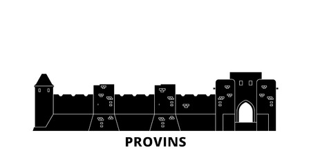 France, Provins Landmark flat travel skyline set. France, Provins Landmark black city vector panorama, illustration, travel sights, landmarks, streets. Illustration