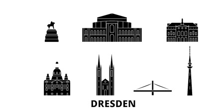 Germany, Dresden flat travel skyline set. Germany, Dresden black city vector panorama, illustration, travel sights, landmarks, streets.