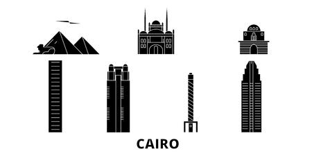 Egypte, ensemble d'horizon de voyage plat du Caire. Egypte, panorama vectoriel de la ville noire du Caire, illustration, sites touristiques, monuments, rues. Vecteurs