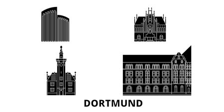 Germany, Dortmund flat travel skyline set. Germany, Dortmund black city vector panorama, illustration, travel sights, landmarks, streets.