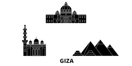 Egypte, Gizeh voyage plat skyline set. Egypte, panorama vectoriel de la ville noire de Gizeh, illustration, sites touristiques, monuments, rues. Vecteurs