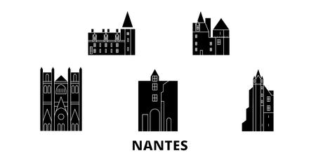 Francia, set di skyline da viaggio piatto di Nantes. Francia, Nantes città nera panorama vettoriale, illustrazione, siti di viaggi, punti di riferimento, strade.