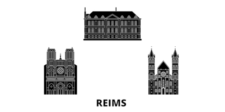 France, Reims flat travel skyline set. France, Reims black city vector panorama, illustration, travel sights, landmarks, streets.