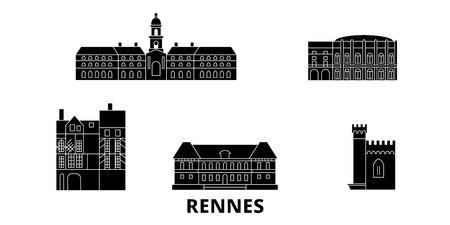 France, Rennes flat travel skyline set. France, Rennes black city vector panorama, illustration, travel sights, landmarks, streets.  イラスト・ベクター素材