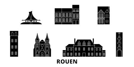 France, Rouen flat travel skyline set. France, Rouen black city vector panorama, illustration, travel sights, landmarks, streets.