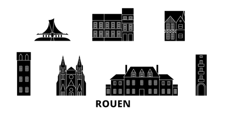 France, Rouen flat travel skyline set. France, Rouen black city vector panorama, illustration, travel sights, landmarks, streets.