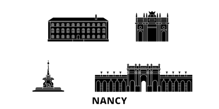 France, Nancy  flat travel skyline set. France, Nancy  black city vector panorama, illustration, travel sights, landmarks, streets. Ilustração