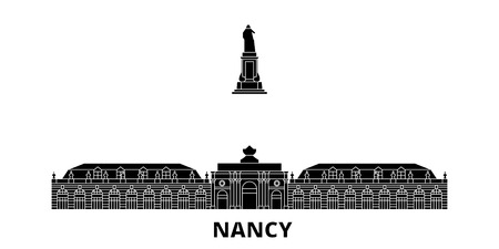 France, Nancy Landmark flat travel skyline set. France, Nancy Landmark black city vector panorama, illustration, travel sights, landmarks, streets.