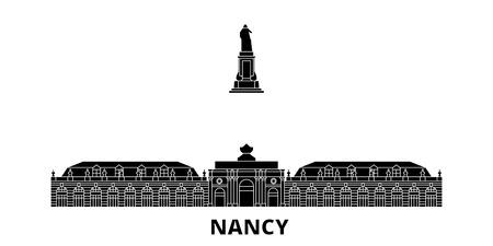 France, Nancy Landmark flat travel skyline set. France, Nancy Landmark black city vector panorama, illustration, travel sights, landmarks, streets.