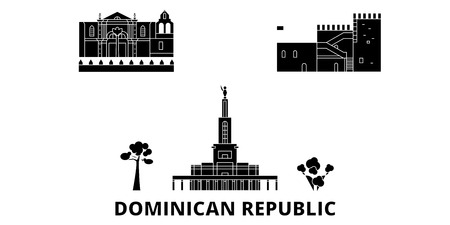 Dominican Republic flat travel skyline set. Dominican Republic black city vector panorama, illustration, travel sights, landmarks, streets.