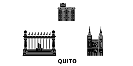Ecuador, Guayaquil, Quito flat travel skyline set. Ecuador, Guayaquil, Quito black city vector panorama, illustration, travel sights, landmarks, streets. Иллюстрация