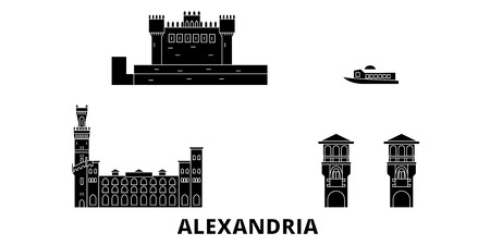Egypt, Alexandria flat travel skyline set. Egypt, Alexandria black city vector panorama, illustration, travel sights, landmarks, streets.