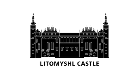 Czech Republic, Litomysl Castle flat travel skyline set. Czech Republic, Litomysl Castle black city vector panorama, illustration, travel sights, landmarks, streets.