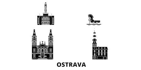 Czech Republic, Ostrava flat travel skyline set. Czech Republic, Ostrava black city vector panorama, illustration, travel sights, landmarks, streets.