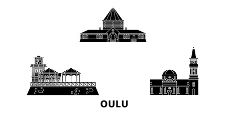 Finland, Oulu flat travel skyline set. Finland, Oulu black city vector panorama, illustration, travel sights, landmarks, streets.